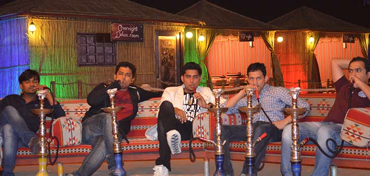shisha smoking in desert